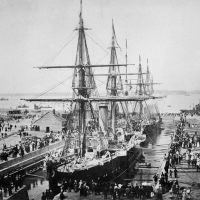 Calliope Dock Opening 1888 showing HMS Calliope and Diamond