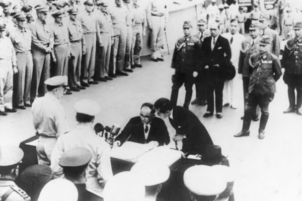 Signing the surrender terms on USS Missouri. AUD 0045
