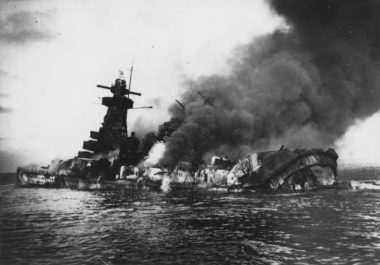 Smoke billows from Graf Spee as she sinks, 17 December 1939
