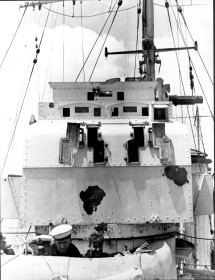 The Director Control Tower with post-battle shrapnel damage