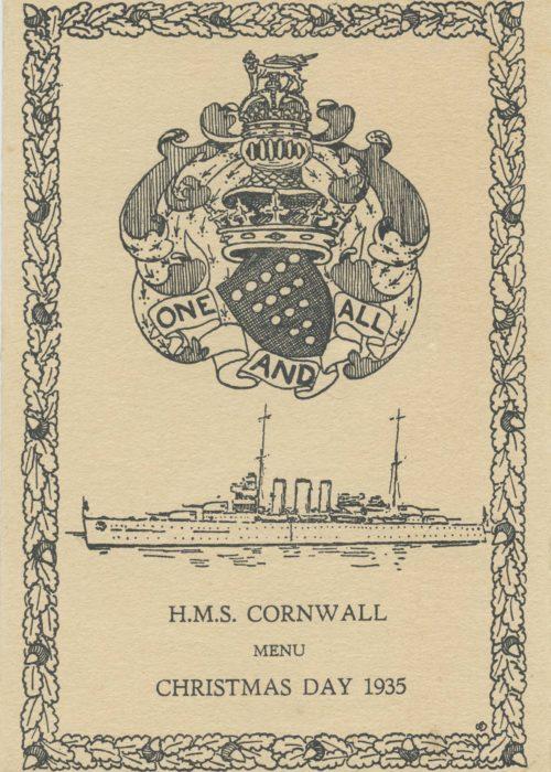 HMS Cornwall Christmas Menu 1935 EAF 0021