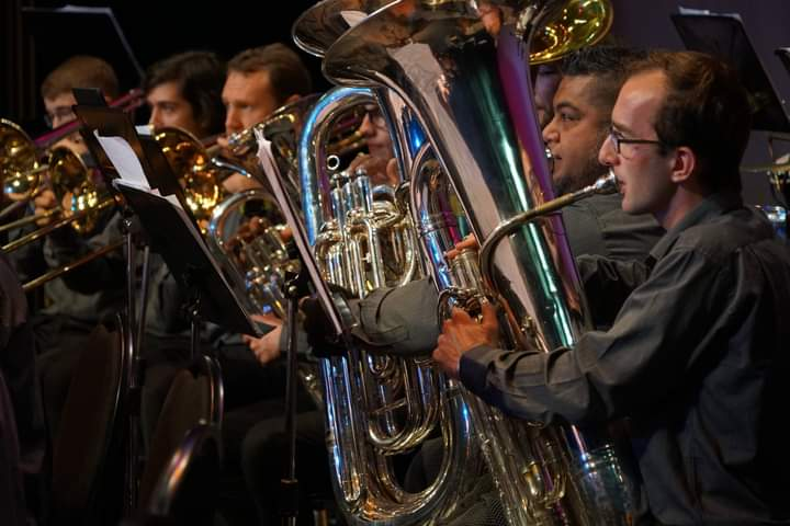 Callan playing tuba. Image courtesy of the West City Concert Band.