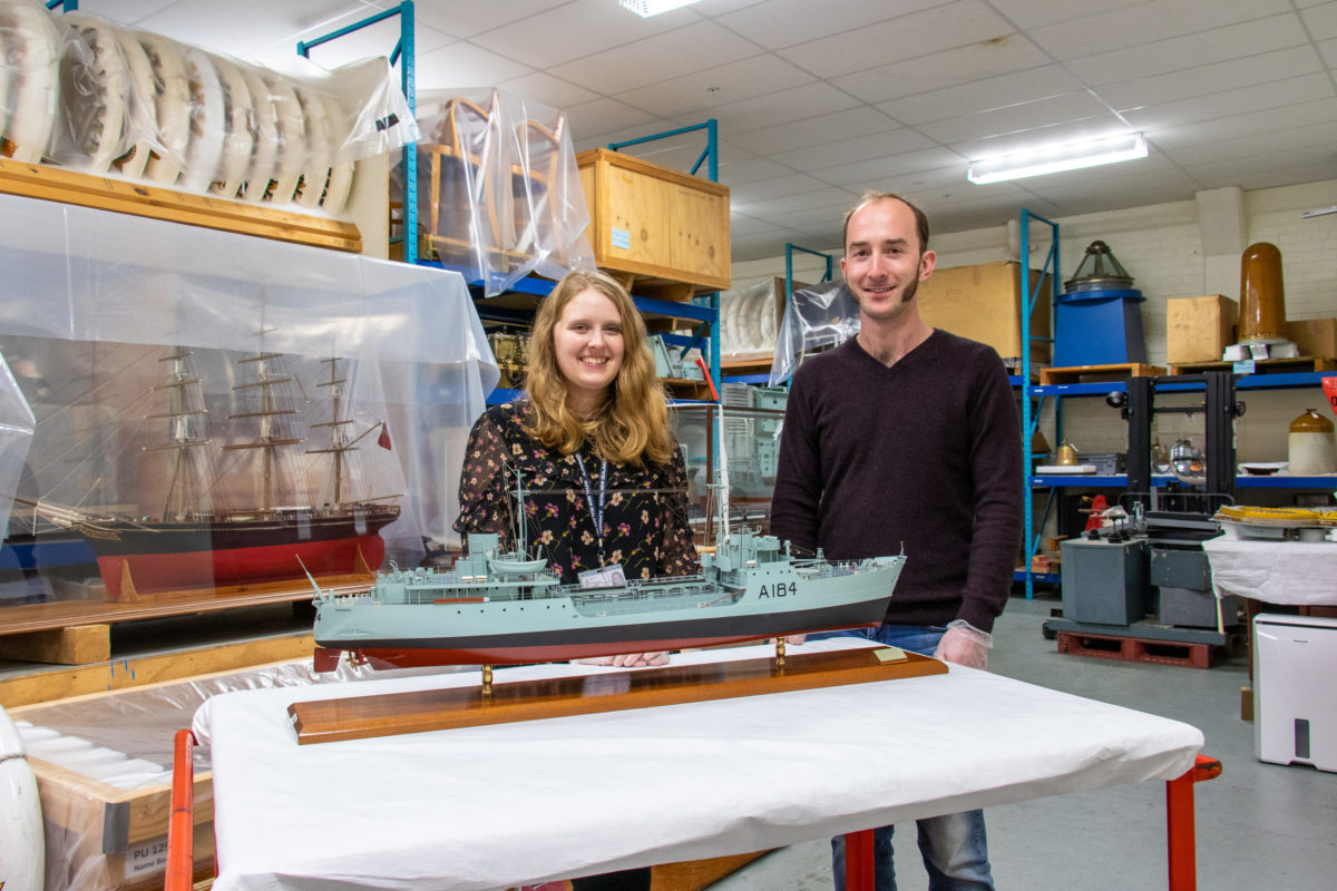 Hannah and colleague Callan in the Museum Collections Store at the Devonport Naval Base.