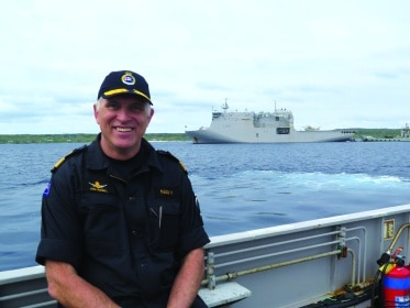 Cdre Campbell, HMNZS Canterbury in background