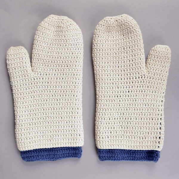 Minesweepers Gloves crocheted by Callan Bird, Collections Assistant