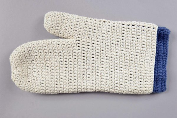 Minesweeper Glove - crocheted by Callan Bird, Collections Assistant