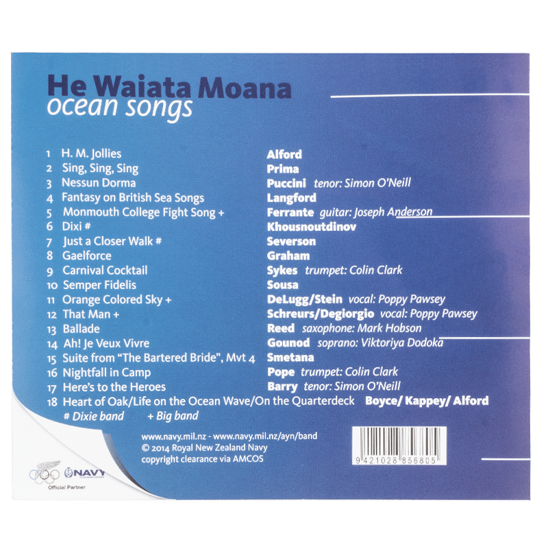 Navy Band He Waiata Moana - Back cover