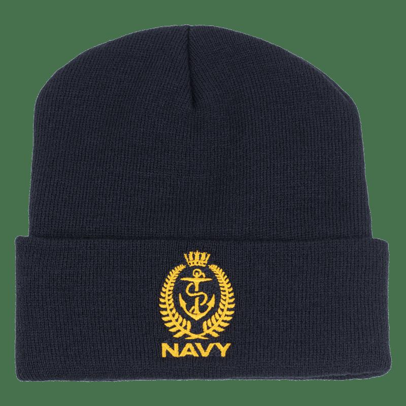 Navy Crest Beanie