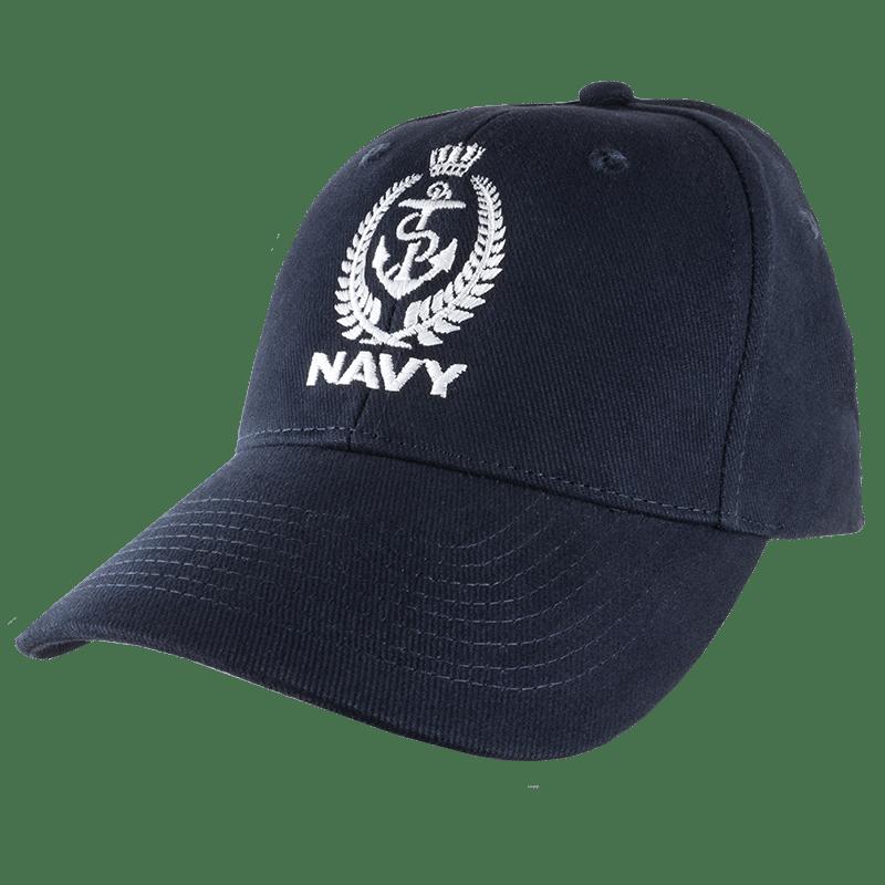 Navy Crest Cap - White