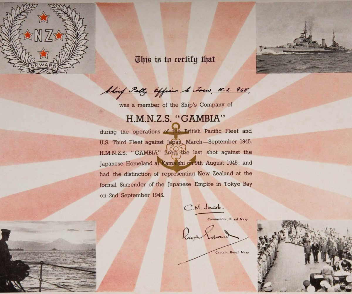 This certificate was awarded to Chief Petty Officer Frew who was serving on board Gambia during the final operations against Japan. The certificate attests his attendance during the formal surrender. PTJ 0008