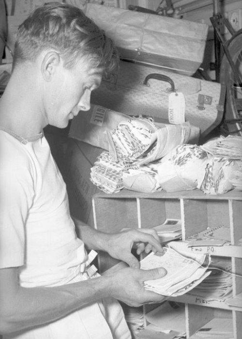Sorting mail on board ship - SN 61 01494 01