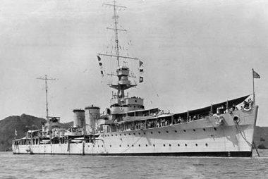 HMS Dunedin at anchor (RNZN Museum AAD0139)