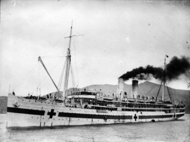 Hospital ship Maheno. Dickie, John, 1869-1942 :Collection of postcards, prints and negatives. Ref: 1/1-002212-G. Alexander Turnbull Library, Wellington, New Zealand. http://natlib.govt.nz/records/23193984