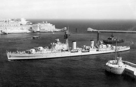 HMNZS Royalist entering Malta 1957 [RNZN Museum AAN 0027]